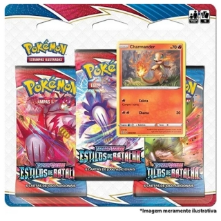 Kit Cartas Pokémon Blister Triplo 3 Pacotes + 1 Carta Charmander