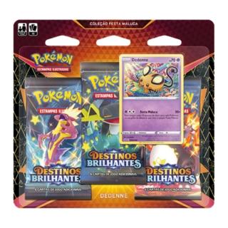Kit Cartas Pokémon Blister Triplo 3 Pacotes + 1 Carta Dedenne