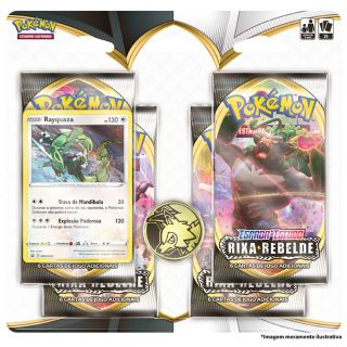 Kit Cartas Pokémon EE2 Blister Quadruplo 4 Pacotes + 1 Carta + Rixa Rebelde
