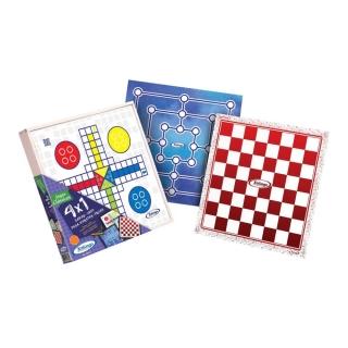 Kit com Jogos Clássico 4x1 Dominó Ludo Sendero Palitos Xalingo