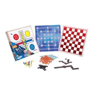 Kit com Jogos Clássico 5x1 Dominó Ludo Loto Damas Trilha Xalingo