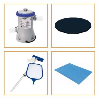 Kit Filtro 2.006 Litros/Hora + Capa 366 Estrutural + Forro e Kit Limpeza Bestway