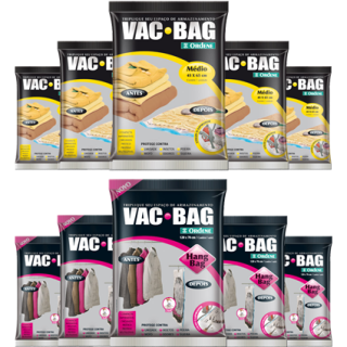 Kit Saco a Vácuo 5 Médios + 5 Hang Bag