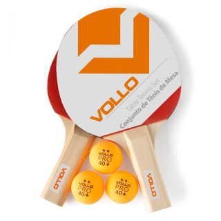 Kit Tênis De Mesa Com 2 Raquetes E 3 Bolas Vollo