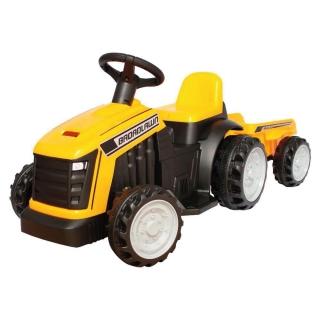 Mini Trator Elétrico Infantil Com Reboque Amarelo Importway