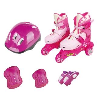 Patins Ajustável Triline Com kit Proteção Rosa Fenix