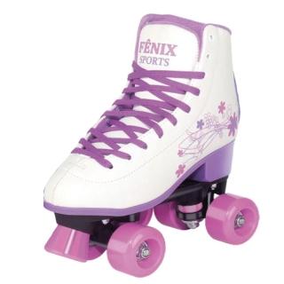 Patins Fenix 4 Rodas Roller Skate Ajustável Branco Fenix