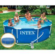 Piscina Intex 4.485 Litros Estrutural Azul Capa Bomba Filtrante
