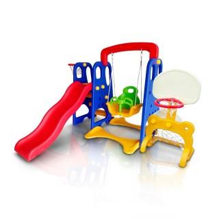 Playground Infantil 5 em 1 Escorregador Balanço Cesta Basquete Gol Brinquedo Importado