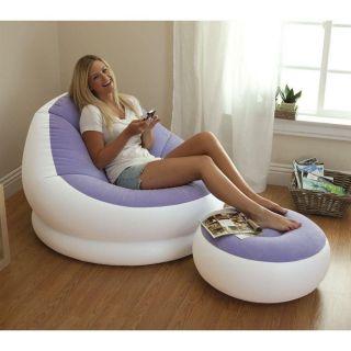 Poltrona inflável com Pufe Apoio para os pés Roxo - Intex