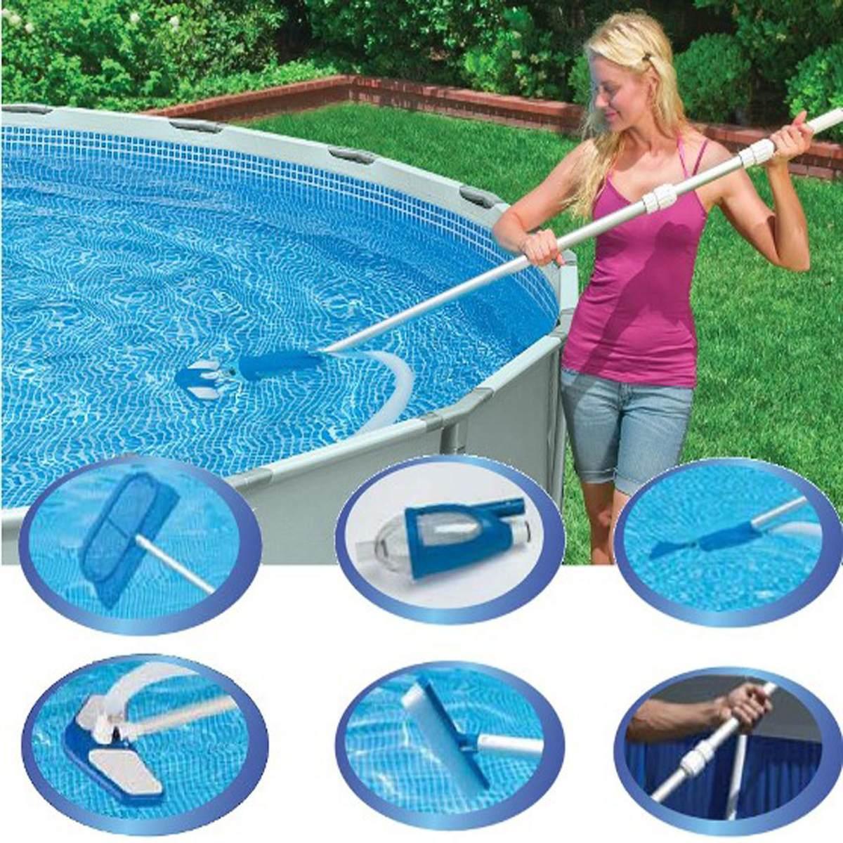 Kit De Limpeza Piscina Deluxe Aspirador Escova Vacuum Intex