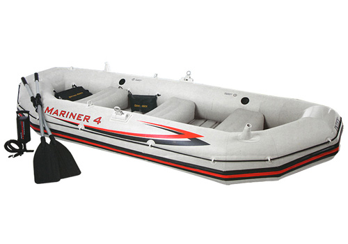 Bote Inflável Intex Mariner 4 C/ Par Remos Bomba Barco Pesca e Suporte Motor