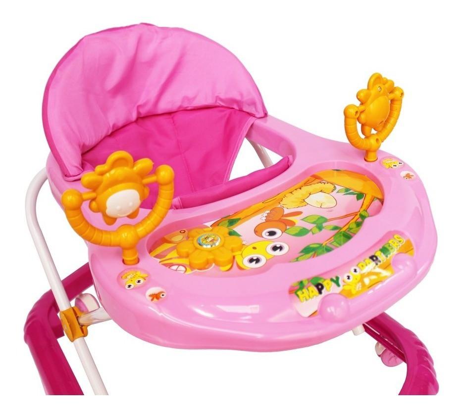 Andador Infantil Musical com Som Altura Regulável Rosa - Importado