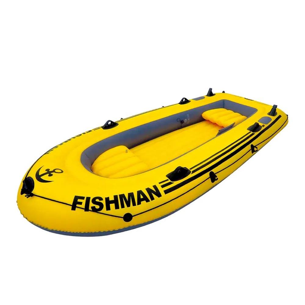 Barco Inflável Fishman 350 Mor Com Inflador + Remos