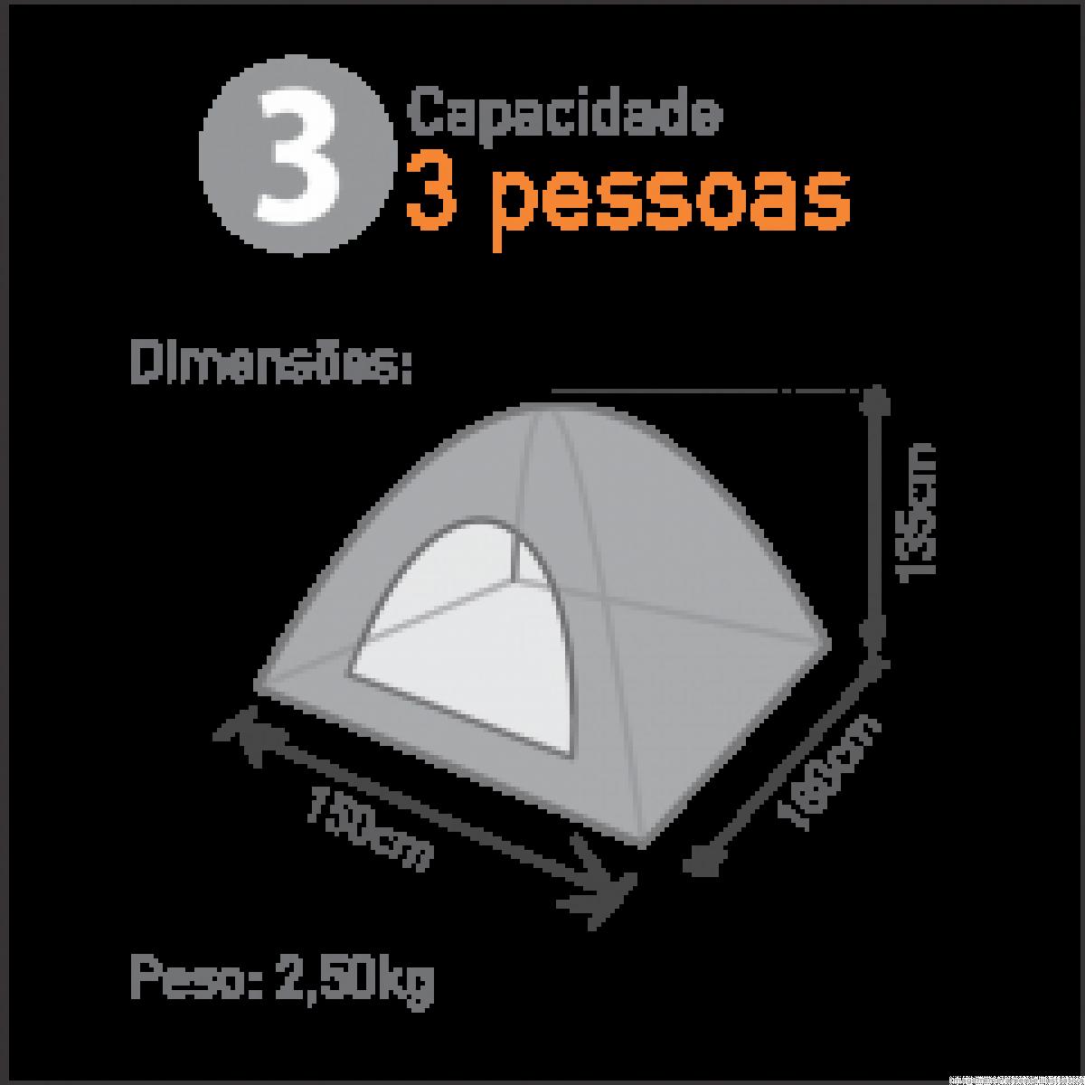 Barraca Atena C/ Sobreteto 3 Pessoas Prata - Guepardo