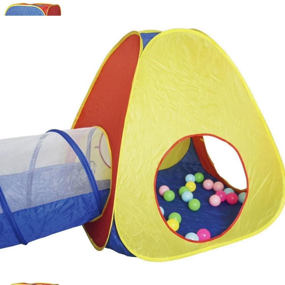 Barraca Infantil Cabana Toca Tunel 3 em 1 Tipo Piscina 50 Bolinhas - Importway