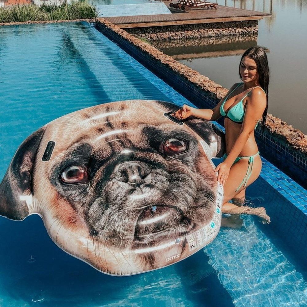 Bóia Colchão Inflável para Piscina Cachorro Pug Intex