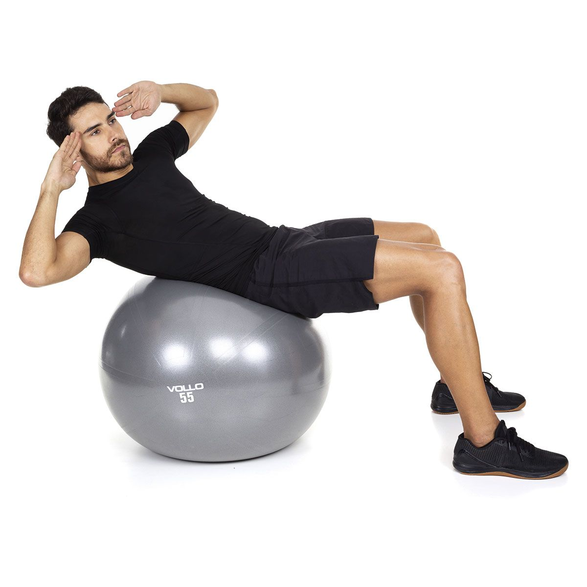 Bola Pilates Gym Ball Com Bomba 55 Cm Cinza Vollo