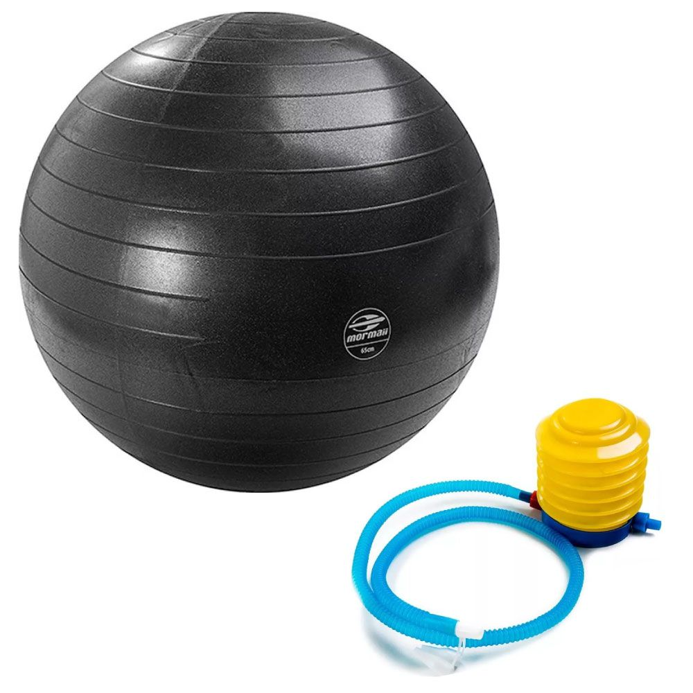 Bola Suiça 75 cm Ball Anti-Burst Fit Preto - Mormai