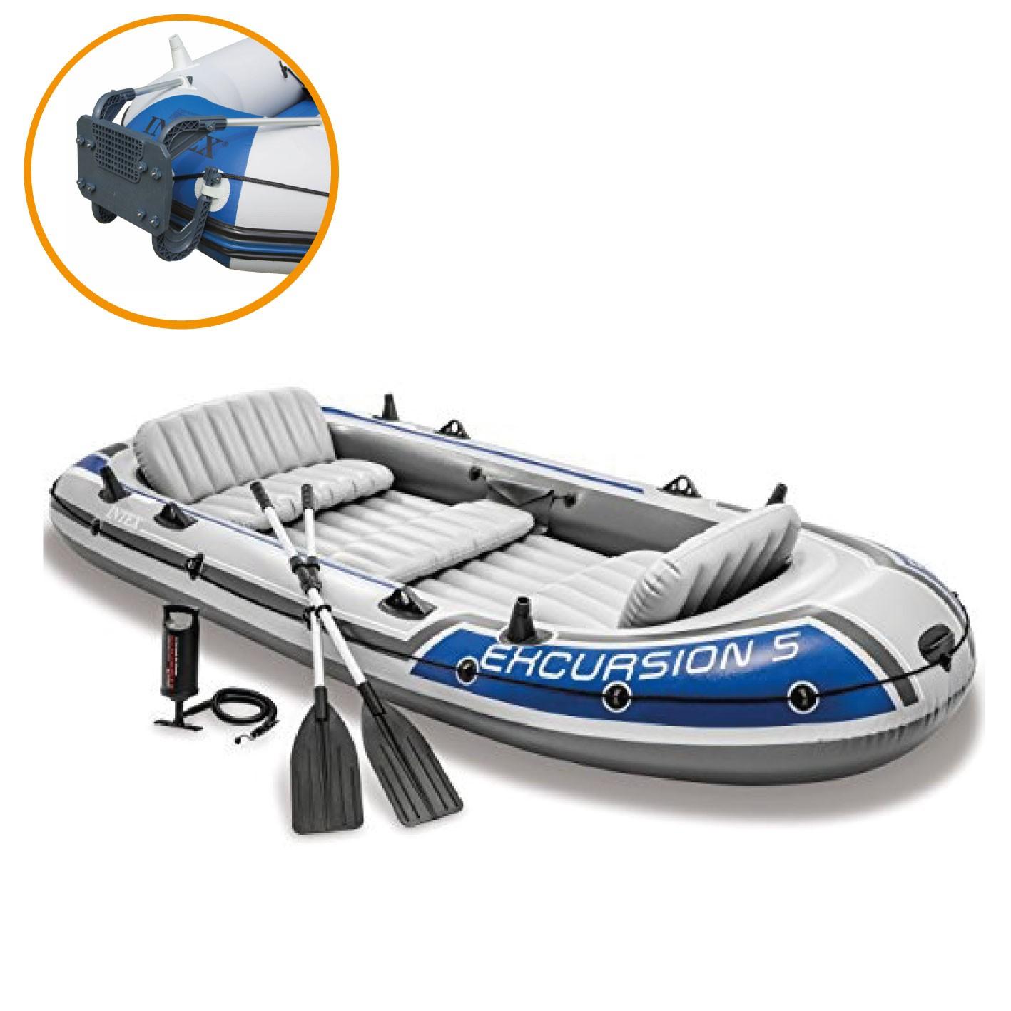Bote Inflável Intex Excursion 5 C/ Suporte Motor Remos Barco