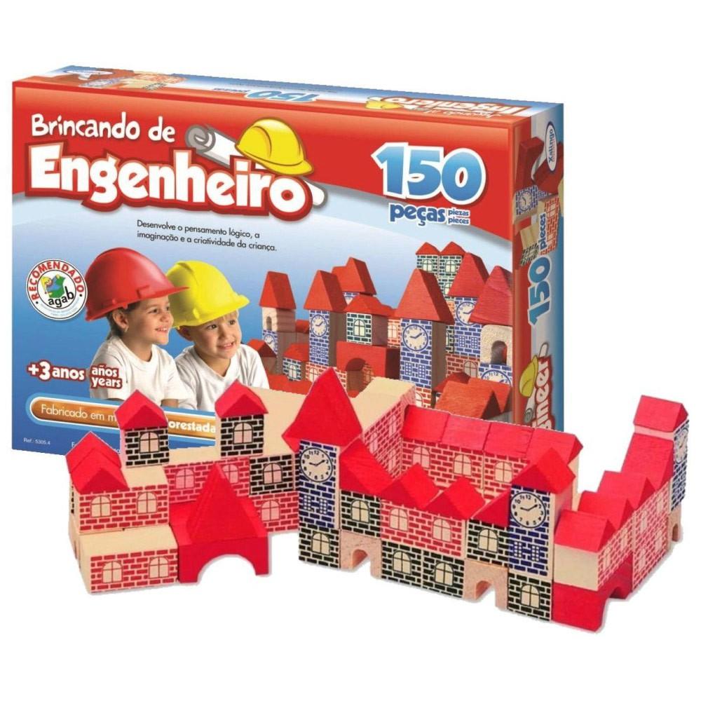Brincando De Engenheiro 150 Peças Madeira Xalingo