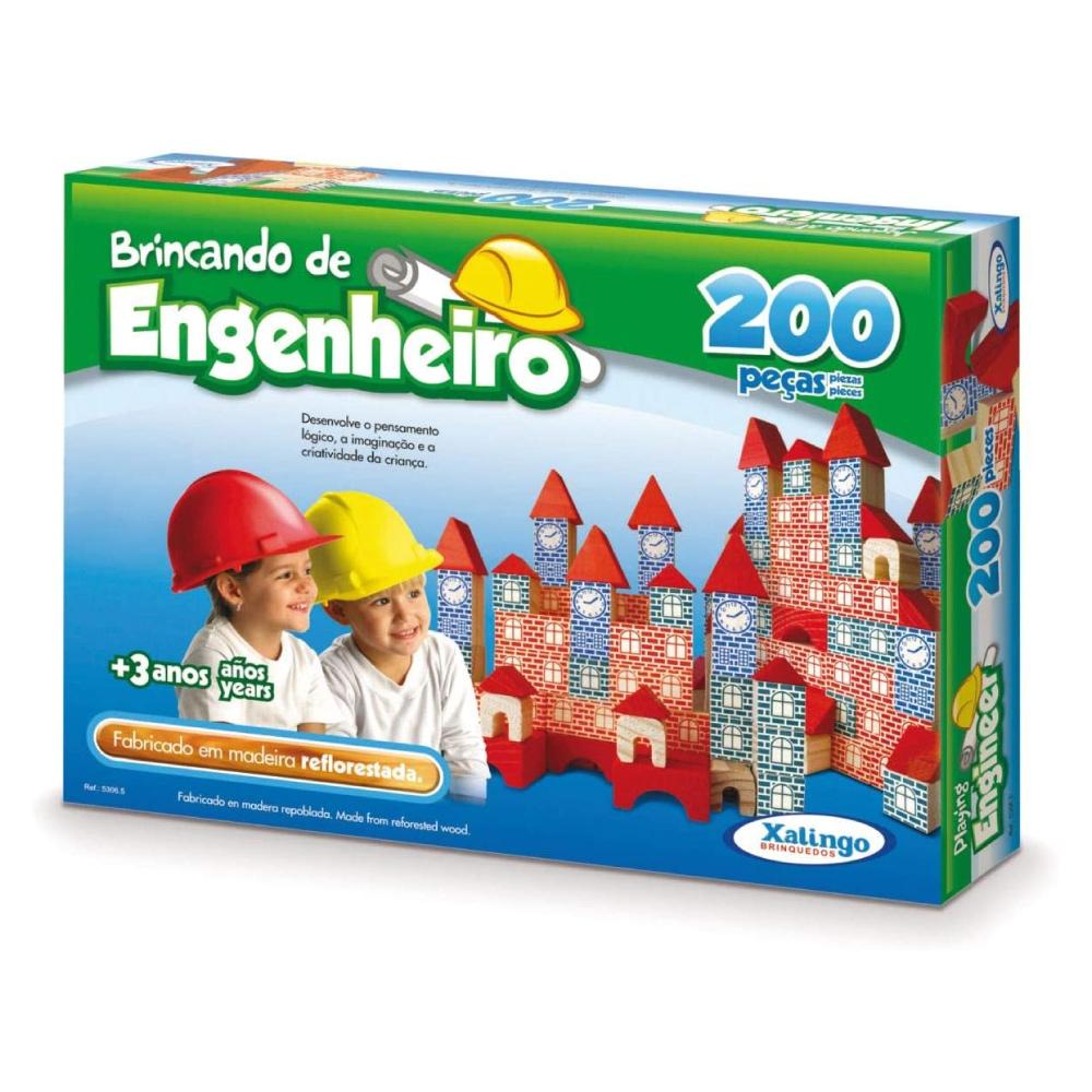 Brincando De Engenheiro 200 Peças Madeira Xalingo