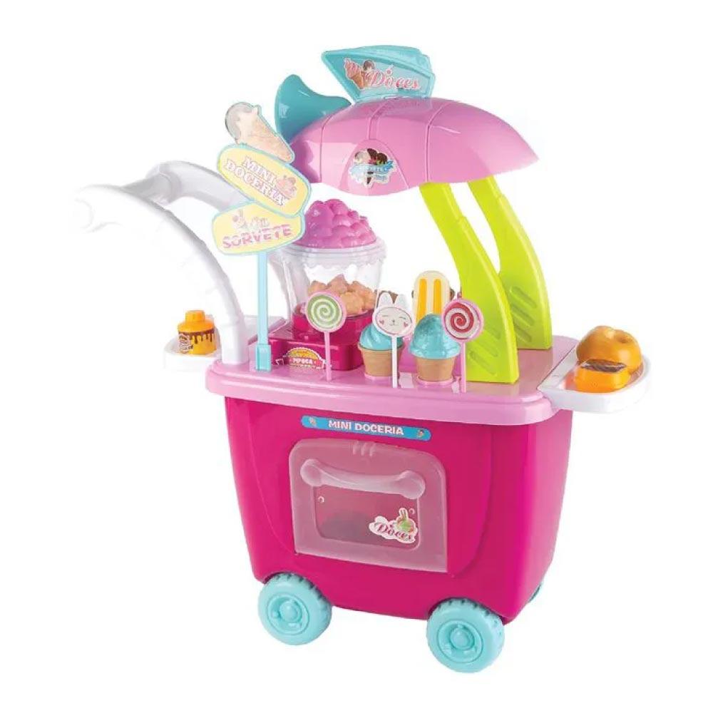 Brinquedo Carrinho Mini Pipoqueira Com Luz e Som Rosa Fenix