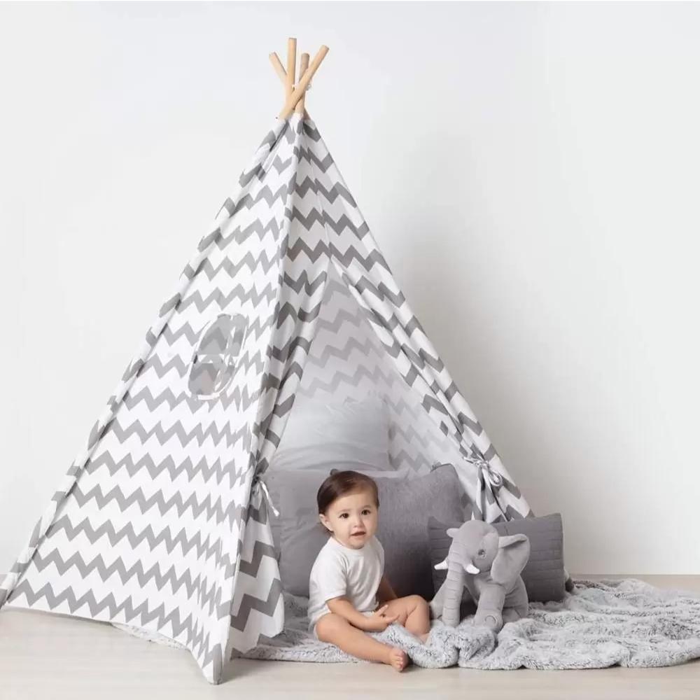 Cabana Triangular Infantil 150 cm Branca Zig Zag Buba