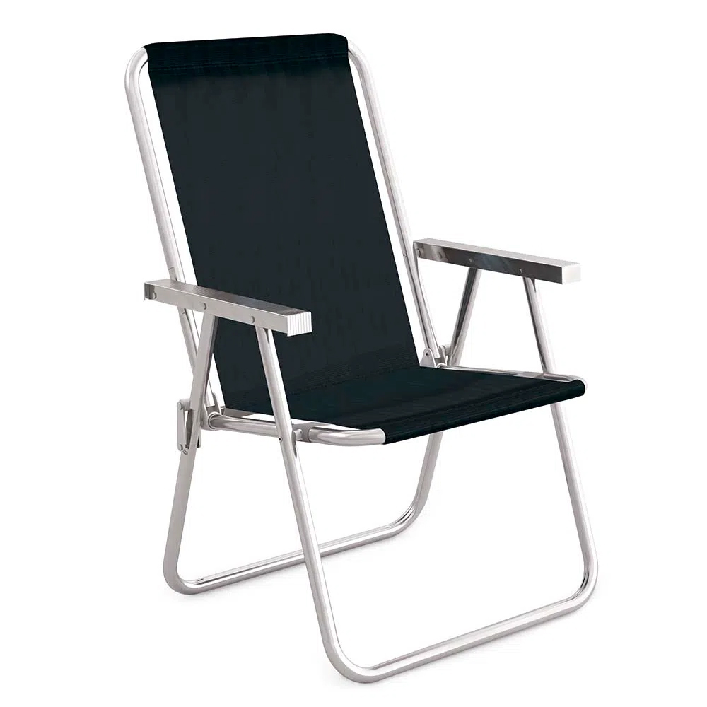 Cadeira Alta Dobrável Conforto Total Aluminio Sannet Preta Mor