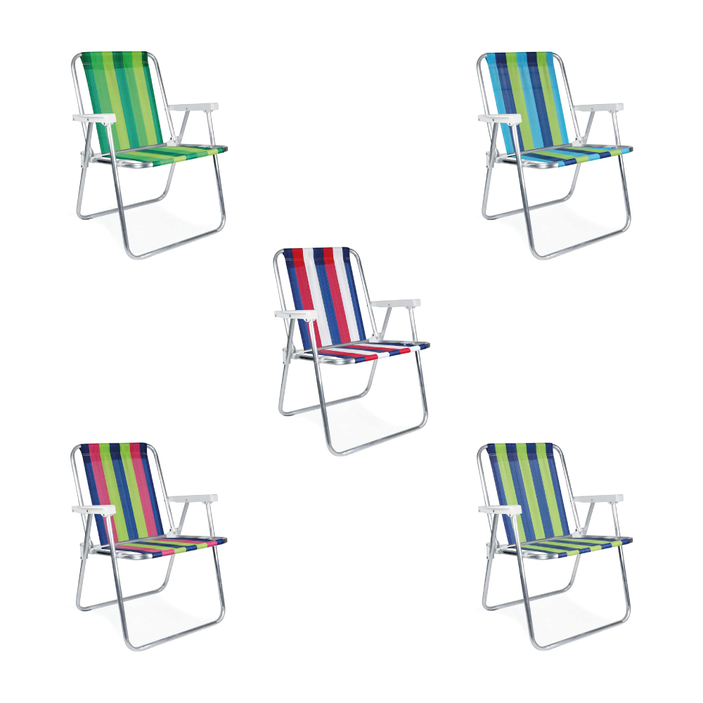 Cadeira de Praia Alta de Alumínio Dobrável Mor