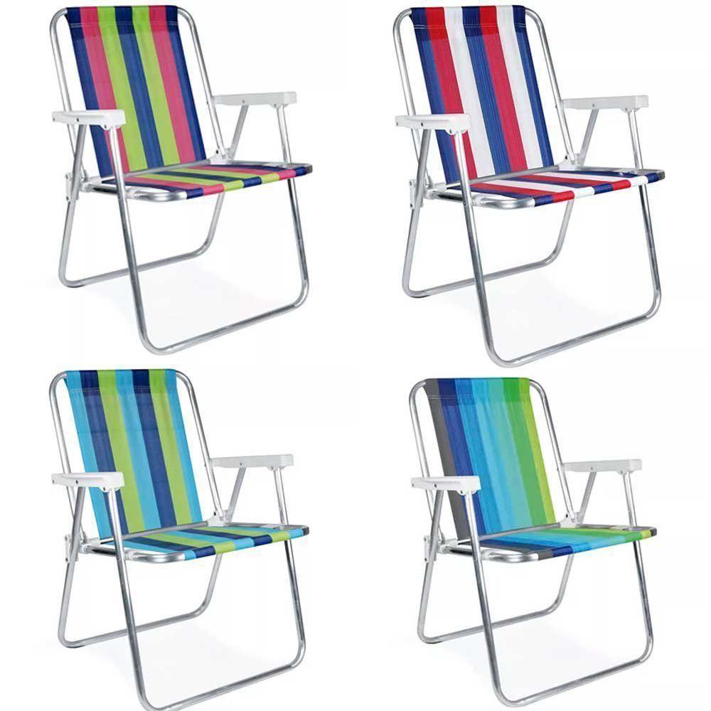 Cadeira de Praia Alta de Aluminio Mor