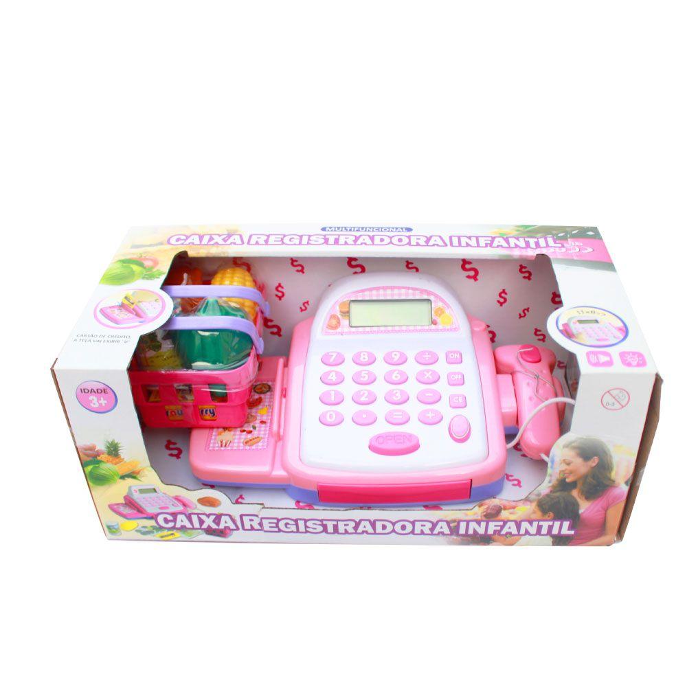 Caixa Registradora Infantil Rosa com Som Importado