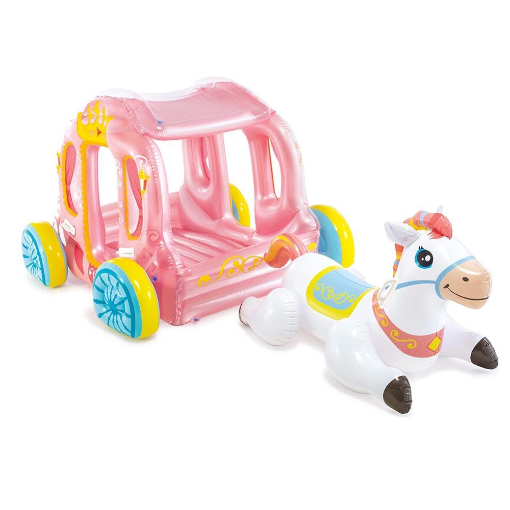 Casinha Carruagem da Princesa Com Cavalinho Inflável Intex