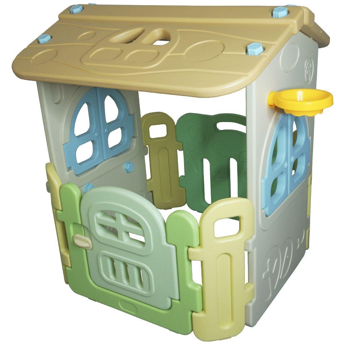Casinha Infantil Plástico Playground Brinquedo Criança com Cesta Basquete Importado