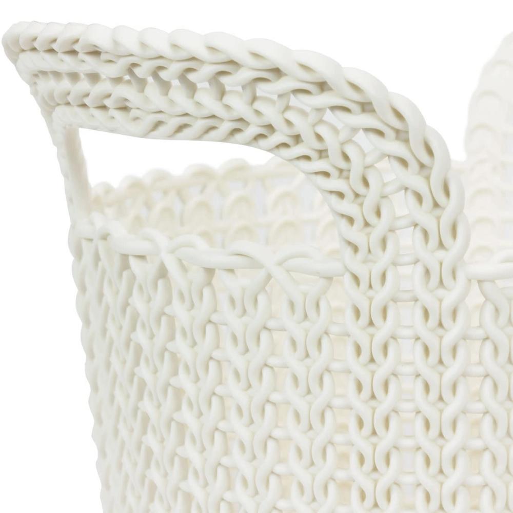 Cesto Organizador Knit Trançado Redondo 3 Litros Branco Keter