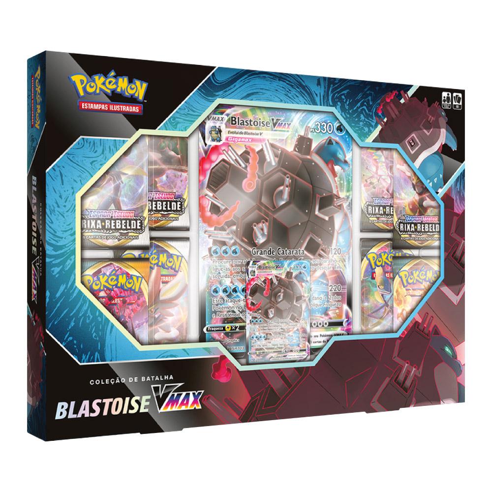 Coleção de Batalha Pokemon Box Blastoise Vmax 50 Cartas