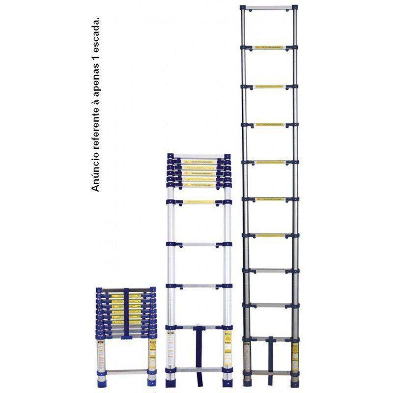 Escada Telescópica Everest com 10 Degraus em Alumínio - MOR