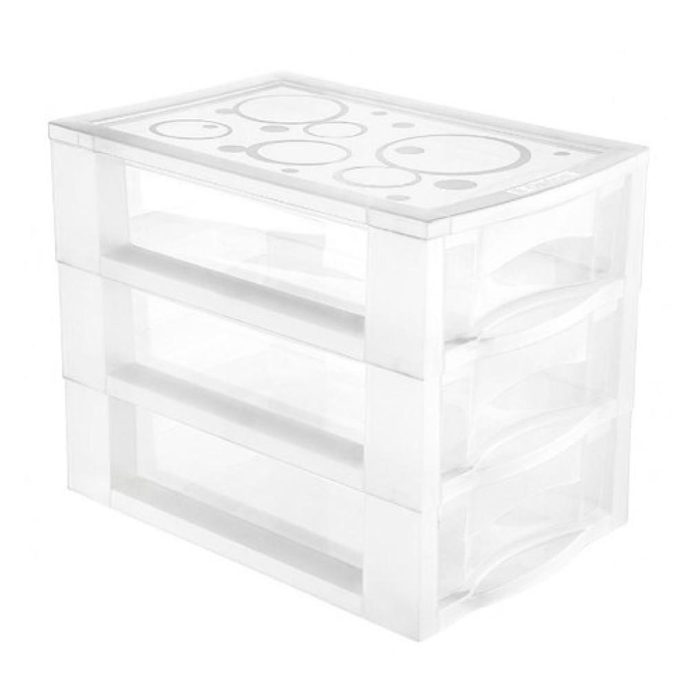 Gaveteiro Plástico 3 Gavetas Transparente Médio Ordene