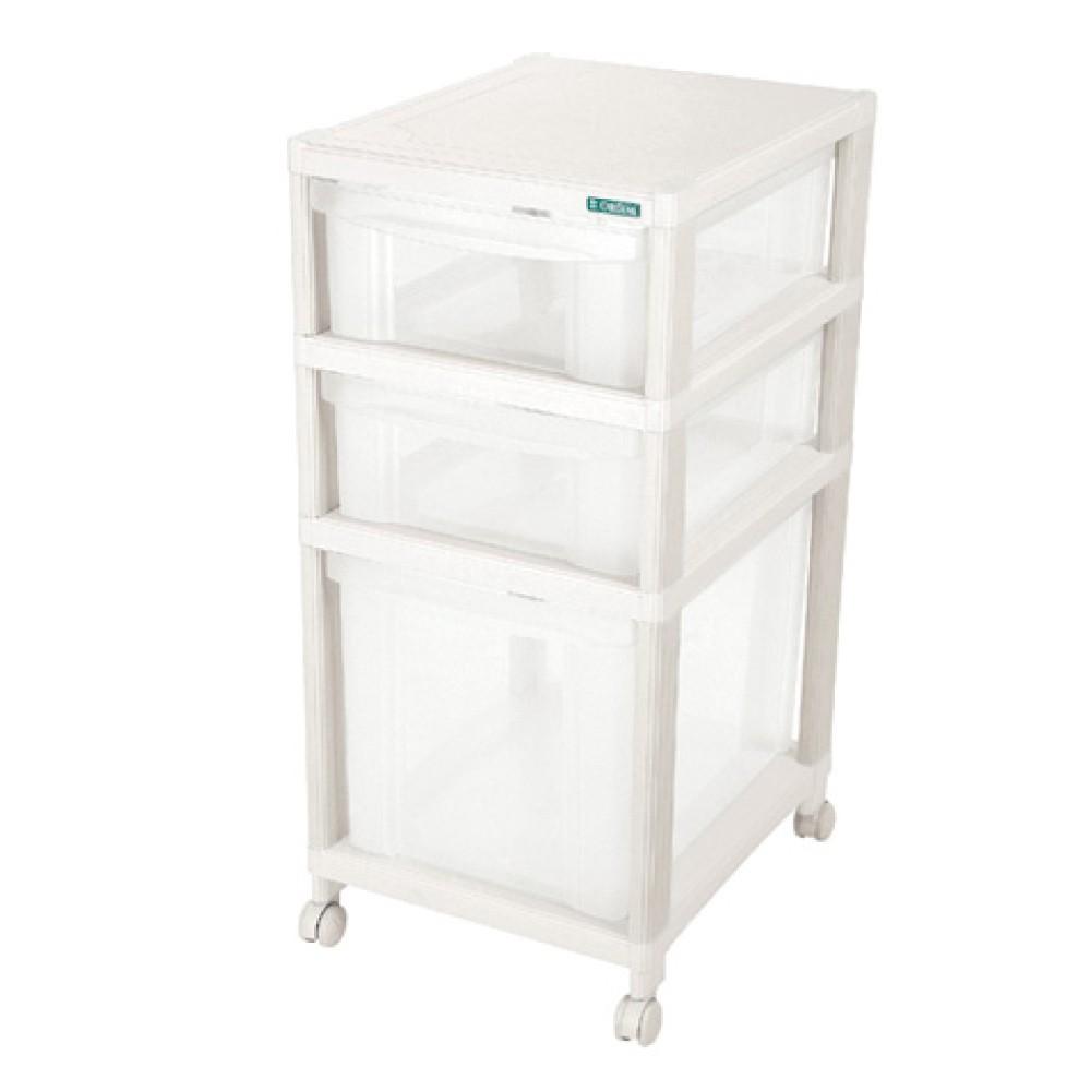 Gaveteiro Plastico Medio Transparente 3 Gavetas Ordene