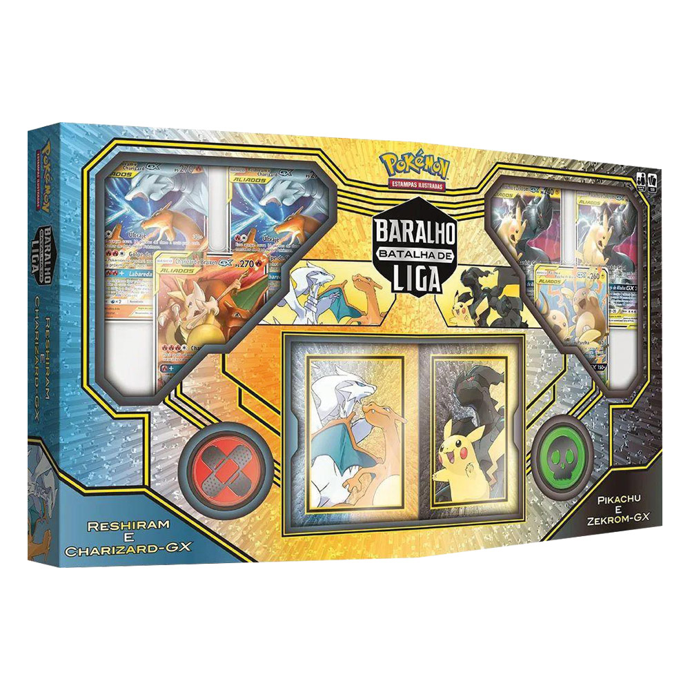 Jogo de Cartas Pokemon Baralho de Liga Duplo Reshiram e Charizard GX - Pikachu e Zekrom GX 120 Cartas