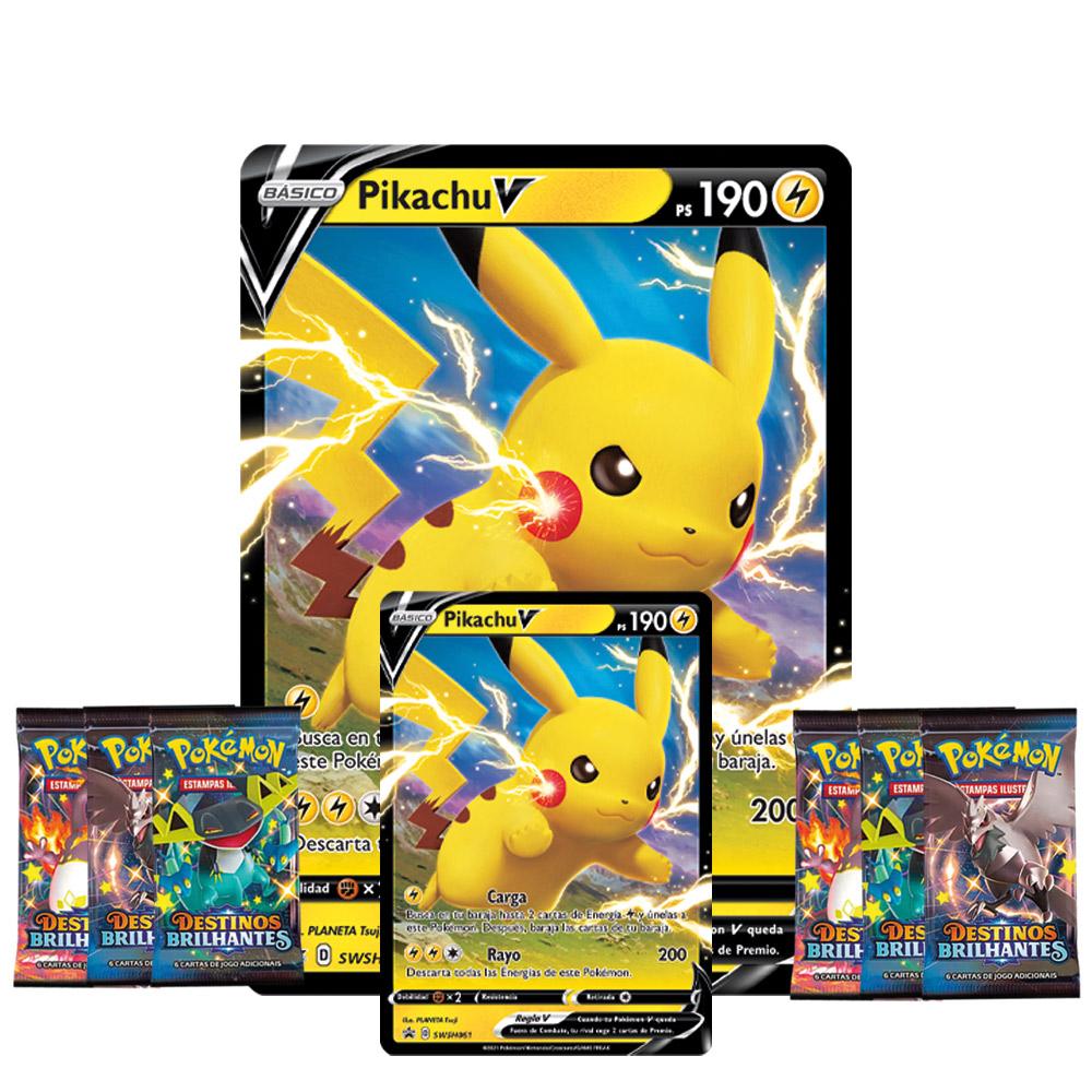 Jogo de Cartas Pokemon Box Coleção Pikachu V 38 Cartas