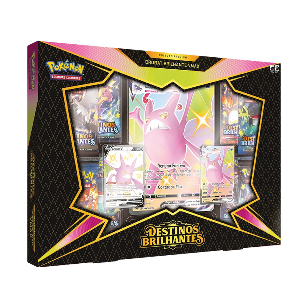 Jogo de Cartas Pokemon Box Crobat Brilhante Vmax 51 Cartas