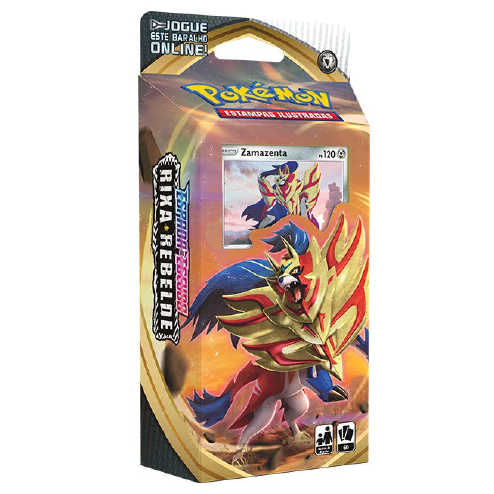 Jogo de Cartas Pokemon EEI Starter DECK  60 Cartas Espada e Escudo Rixa Rebelde Zamazenta