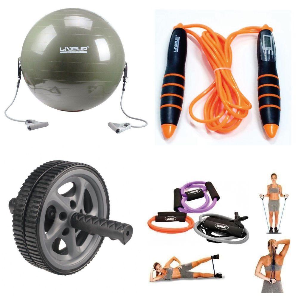 Kit Bola Suíça Com Extensores + Corda Contador Digital + Roda de Exercicios Abdominal+ Kit Extensores Liveup