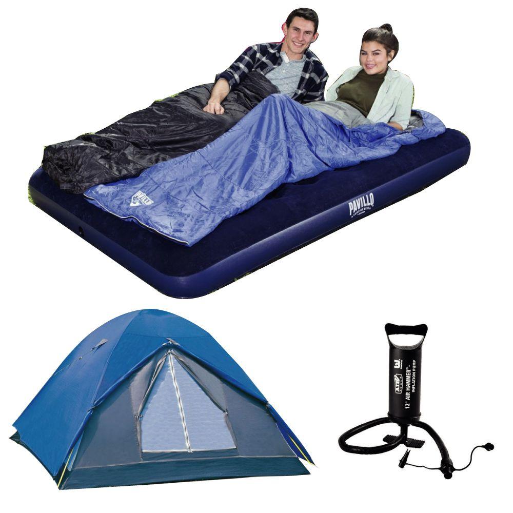 kit Camping Barraca Fox 4/5 Pessoas Nautika + Colchão Casal + Bomba de Ar Bestway