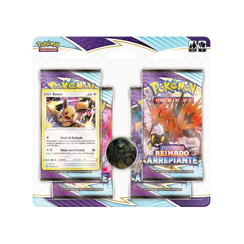 Kit Cartas Pokémon Blister Quadruplo 4 Pacotes + 1 Carta Eevee