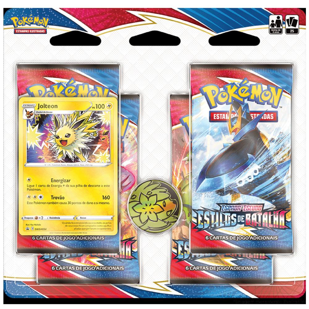 Kit Cartas Pokémon Blister Quadruplo 4 Pacotes + 1 Carta Jolteon