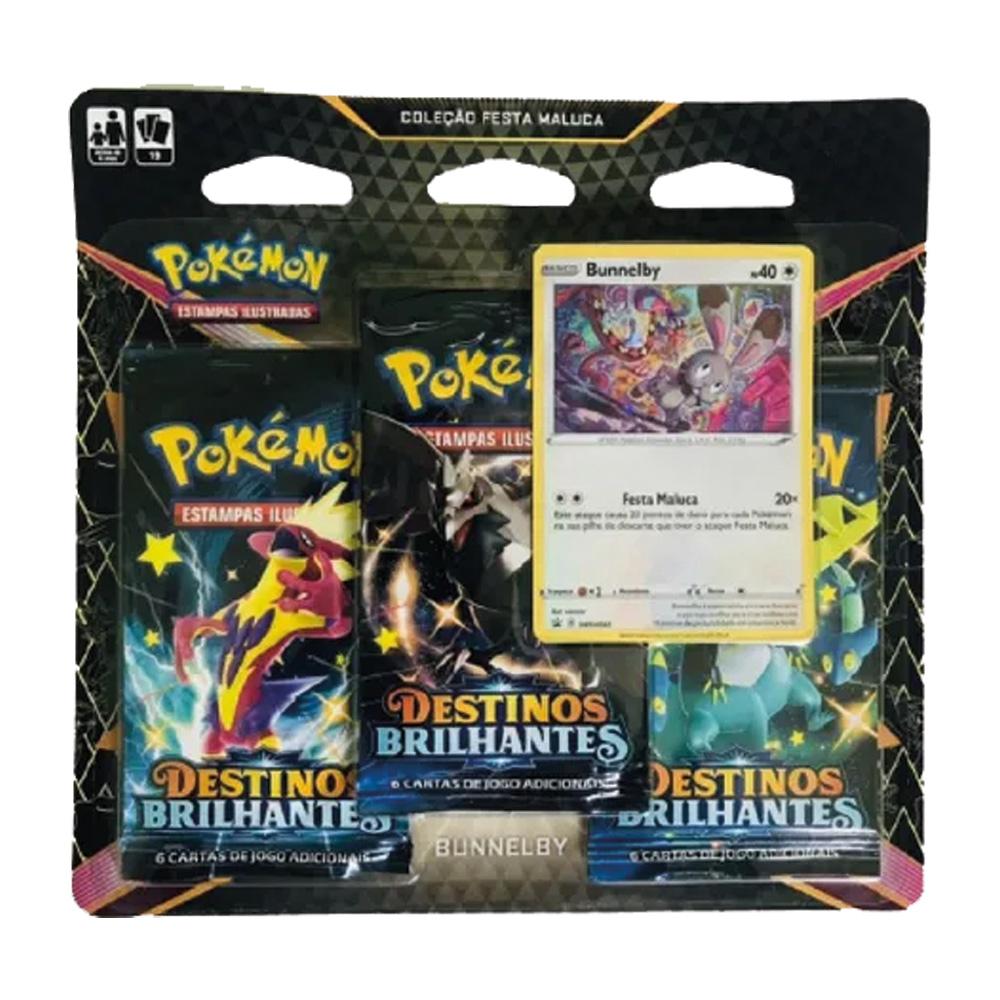 Kit Cartas Pokémon Blister Triplo 3 Pacotes + 1 Carta Bunnelby
