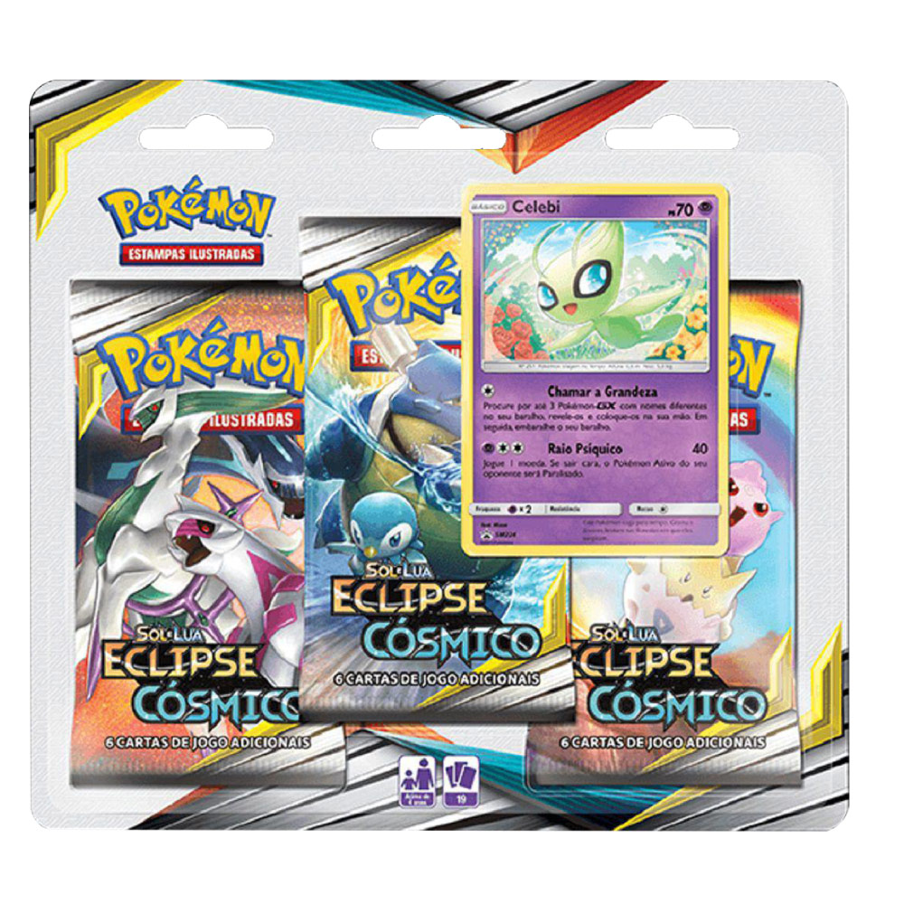 Kit Cartas Pokémon Blister Triplo 3 Pacotes + 1 Carta Celebi