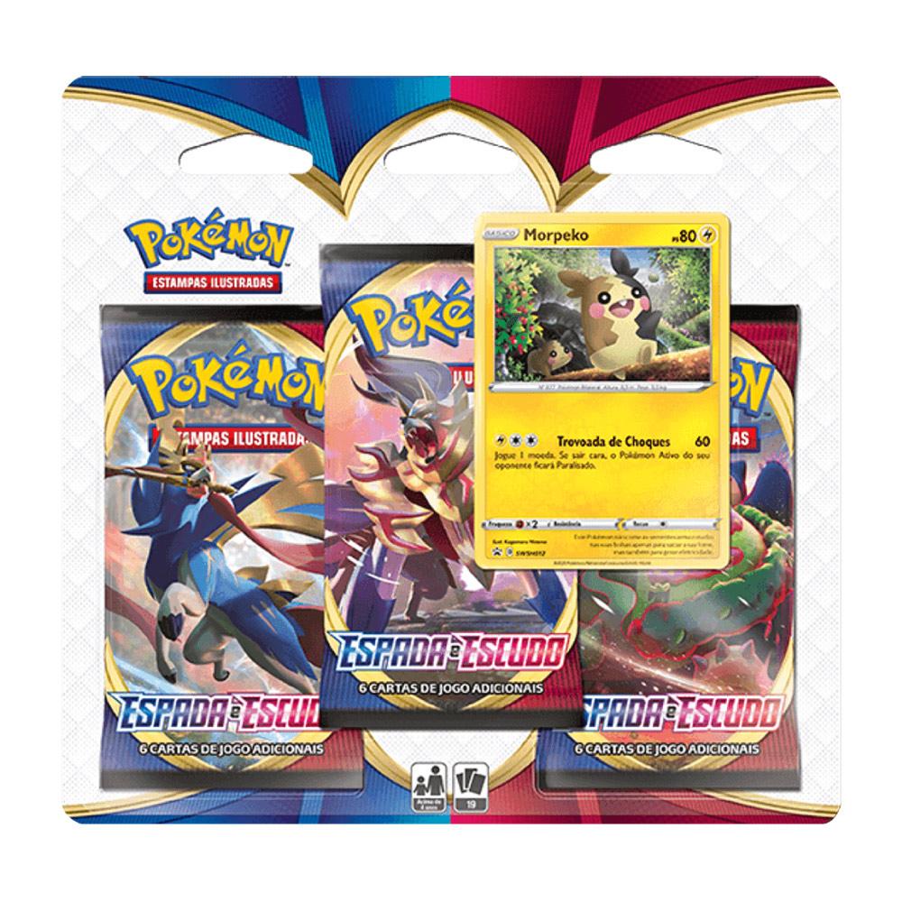 Kit Cartas Pokémon Blister Triplo 3 Pacotes + 1 Carta Morpeko